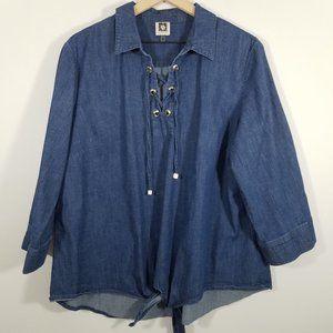 Anne Klein Long Sleeve Demin Shirt Size XL